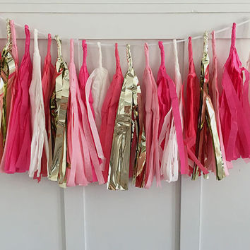 Pink Gold and White Tissue Paper Tassel Pennant