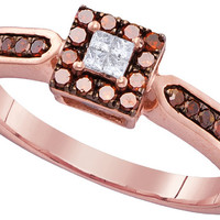 10kt Rose Gold Womens Round Red Colored Diamond Square Cluster Ring 1/4 Cttw 104330