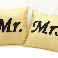 Mr Mrs Gold Black Decorative Pillow Covers Set Cushion Cover Set. Wedding Gift. Couples Gift. Engagement Gift. Housewarming Gift. Home Decor