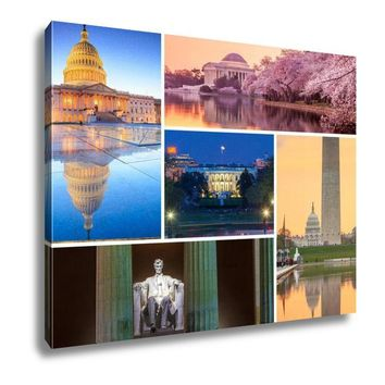 Canvas, Washington Dc Famous Landmarks Picture Collage, 16x20