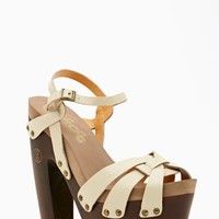 Rainbow Platform Sandal - Bone Leather