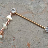 Rose Gold Industrial Barbell Scaffold Piercing