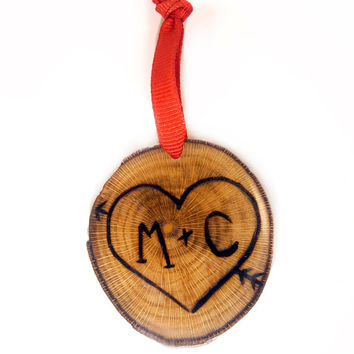 Personalized Couples 1st Christmas Ornament | Wood Burned Ornament | Sycamore Tree Slice | Wood Slice Ornament | Romantic Christmas Ornament
