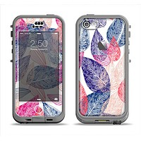 The Seamless Pink & Blue Color Leaves Apple iPhone 5c LifeProof Nuud Case Skin Set