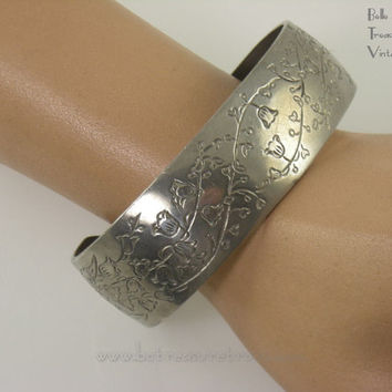 Signed Kirk Pewter Vintage Cuff Bracelet Lily of the Valley May Birth Month Flower