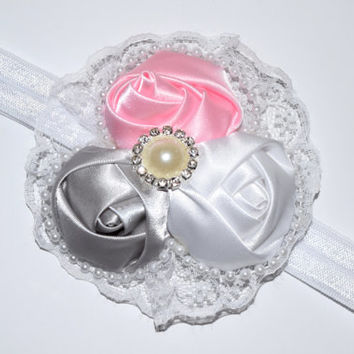 Fancy baby headband , Easter headband baby , Christening headband , white headband , satin roses , lace pearls , toddler fancy headband