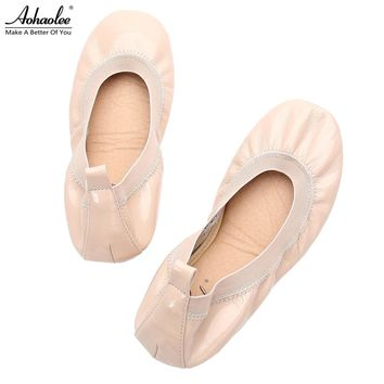 Aohaolee Hot Fashion Red Soles Leather Lady Shoes Loafer Women Ballerina Flats Shoes Foldable Ballet Flats Driving Dancing Shoes