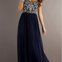 A Line Sweetheart Neck Navy Blue Floor Length Long Prom Dress, Formal Dresses