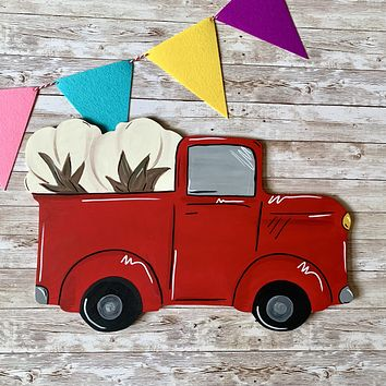 Red Truck with Cotton Bolls Wooden Door Hanger or Wall Decor
