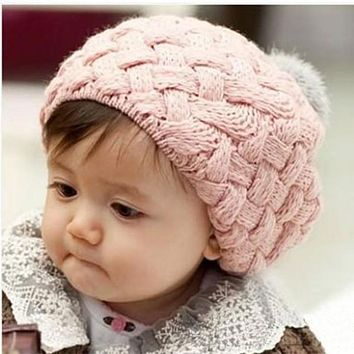 Lovely 4 Colors Baby Girl Crochet Beanie Knitted Cap with Fur Top Fitted Kids Accessories Knitting Winter Baby Warm Beret Hat