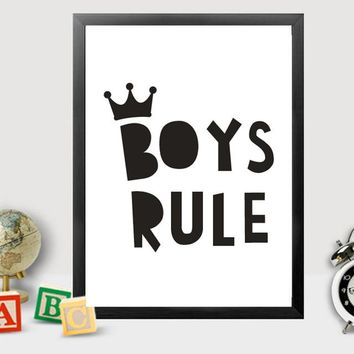 Boys Rule Crown Canvas Painting Wall Art Scandinavian Pictures Poster Nursery Decoration for Boys Room Baby Home Decor unframed