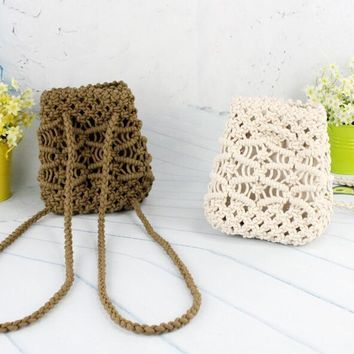 2017 Summer Crochet Straw Bag Backpack Beach Knitting Bag Women Hollow Out backpack