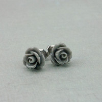Stud Earrings Grey Resin Rose Post Earrings