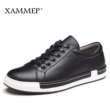 Men Casual Shoes Spring Autumn Brand Men Shoes Men Sneakers Genuine Split Leather shoes Plus Big Size Men Flats Slip On Xammep