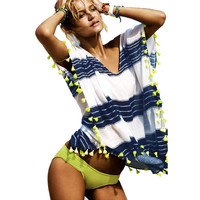 Tassel Ball Stripe Swimwear Causal Beach Cover Up