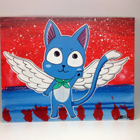 Happy Blue Cat from Fairy Tail,  acrylic  painting on canvas panel hanging wall décor