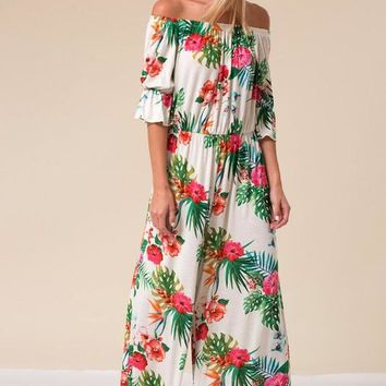 Off Shoulder Floral Jumpsuit