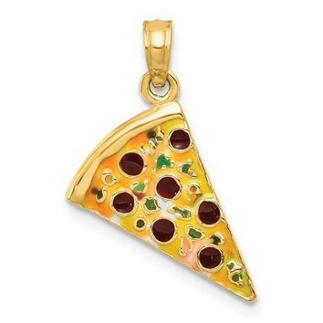 14K Yellow Gold Perfect Pizza Slice Necklace Charm