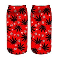 Happy Holidays Christmas Weed Leaf Ankle Socks