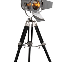 "Ansel Tripod Floor Lamp D:6.5"" H:15.5"" Lt:1 Chrome & Black Finish"