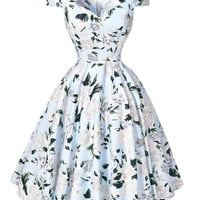 Women Dresses 50s 60s Casual Pinup Retro Dress BP008 Floral Print Short Sleeve Vestido Robe Rockabilly Hepburn Vintage Dress - Brides & Bridesmaids - Wedding, Bridal, Prom, Formal Gown