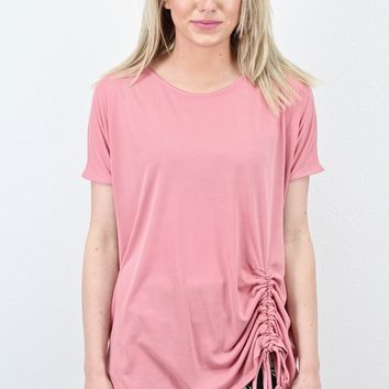 Short Sleeve Drawstring Front Modal Basic {Rose}