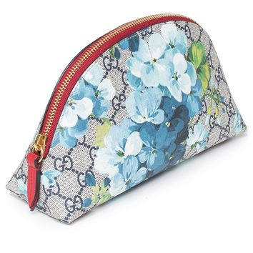 Gucci Red Blossoms Blue Italy Chain Flowers Bag Leather Authentic Handbag New