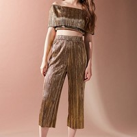 Oh My Love Metallic Accordion Pleat Off-The-Shoulder Set | Urban Outfitters