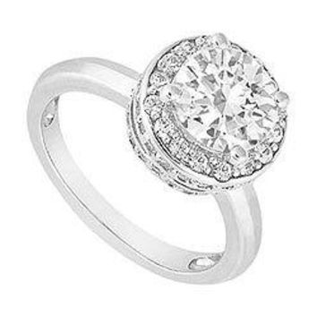 14K White Gold Semi Mount Engagement Ring 0.50 Carat Diamonds Not Included Center Diamond