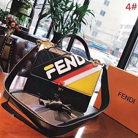 Fendi New Fashion High Quality More Letter Print Contrast Color Leather Shoulder Bag Crossbody Women