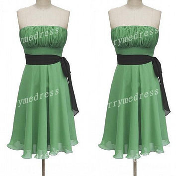 Green Ruffled Strapless Waistband Short Bridesmaid Celebrity Dress,Chiffon Formal Evening Party Prom Dress New Homecoming Dress