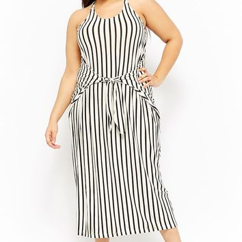 Plus Size Striped Tie-Front Maxi Dress