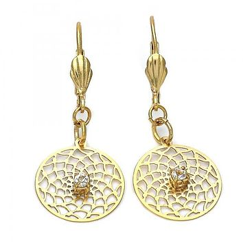 Gold Layered Dangle Earring, Flower and Filigree Design, with Cubic Zirconia, Gold Tone