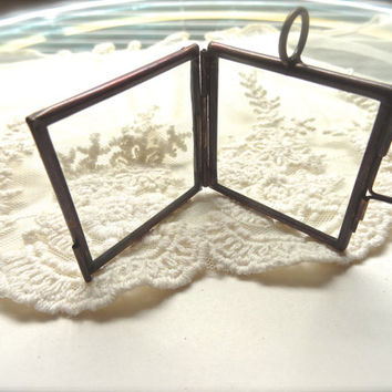 Large Bronze Metal Square Double Pane Glass Clear Locket Display DIY Pendant