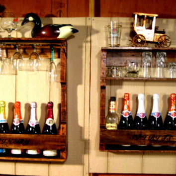 Wood, Wine, Liquor, Home, Mini, Bar, Pallet, Rack, Shelf, Rustic, Pallet, Reclaimed, Wall, Unique, His & Hers, Cabinet, Industrial, Decor