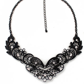 Black Lace Butterfly Flower Hollow Vintage Necklace with Diamond