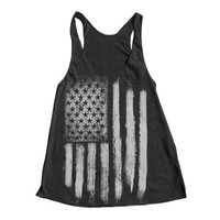 Women's US Flag Racerback Tank Top - Black