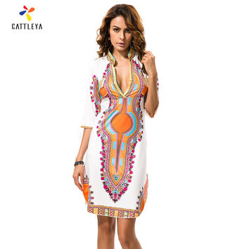 2017New Boho Women Dress Sexy Sundresses DeepV Ethnic Dashiki African Print Tunic Beach Dresses Big Size 3XL Woman SunDress Robe