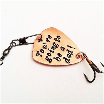 Fishing Pregnancy Announcement, you're going to be a dad fishing lure, husband gifts for him custom fishing hook daddy reveal personalized