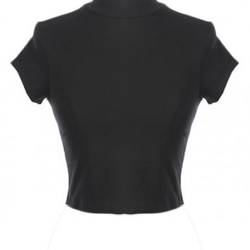 Crop Top - Quintessentially Swift High Neck Short Sleeve Crop Top in Black
