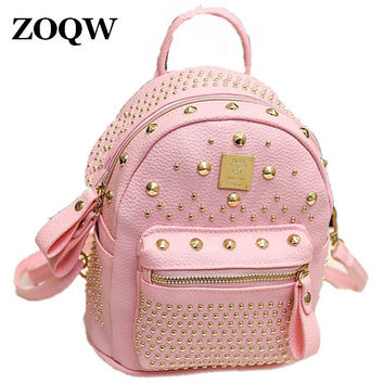 2016 Hot Sale Evening Party Club Teenage Girls Bag Fashion Rivet European Style PU Leather Backpack Women Rock Backpacks WUJ0398