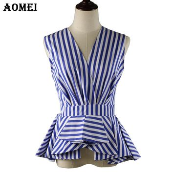 Women Modest Summer Blouse Wear to Work V Neck Office Lady Tops Sleeveless Blue Stripes Blusas Shirts Fall Fashion Ruffle Peplum