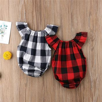 Newborn Baby Girls Summer Bodysuit New Bebes Fly-sleeve Jumpsuit Sunsuit Gray Red Checked Bodysuit Baby Girl Clothes Outfit
