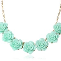 Mint Green Acrylic Carved Rose Floral Statement Necklace, 15""