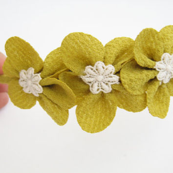 Flower headband, mustard, mint green, black, choose your color