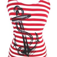 Pinky Star Pinup Sailor Anchor Logo Red and White Striped Rib Tank Top (L)