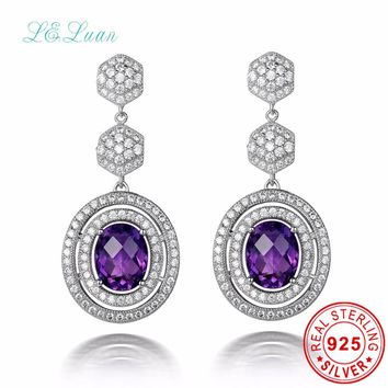 L&zuan 925 Sterling Silver Natrual Amethyst Drop Earring for Women, Luxury Ladies Purple Quartz Dangle Earrings Brinco Bijoux