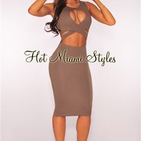 Taupe CrissCross Peep Hole Dress