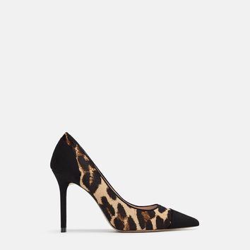ANIMAL PRINT LEATHER HIGH HEELED SHOES