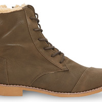 TOMS Olive Synthetic Leather Women's Alpa Boots Green